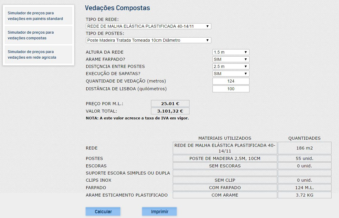 Simulador de preços de vedações da Iberveda